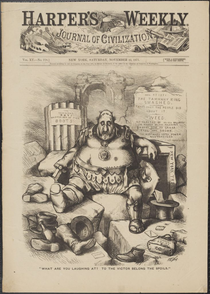 "Thomas Nast (1840-1902). ""What Are You Laughing At? To The Victor Belong the Spoils."" 1871. Museum of the City of New York"